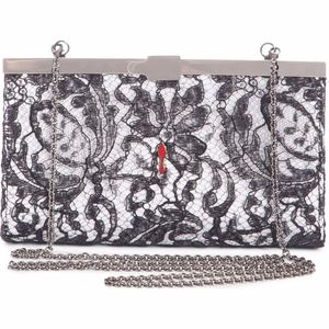 CHRISTIAN LOUBOUTIN Palmette Lace Overlay Clutch
